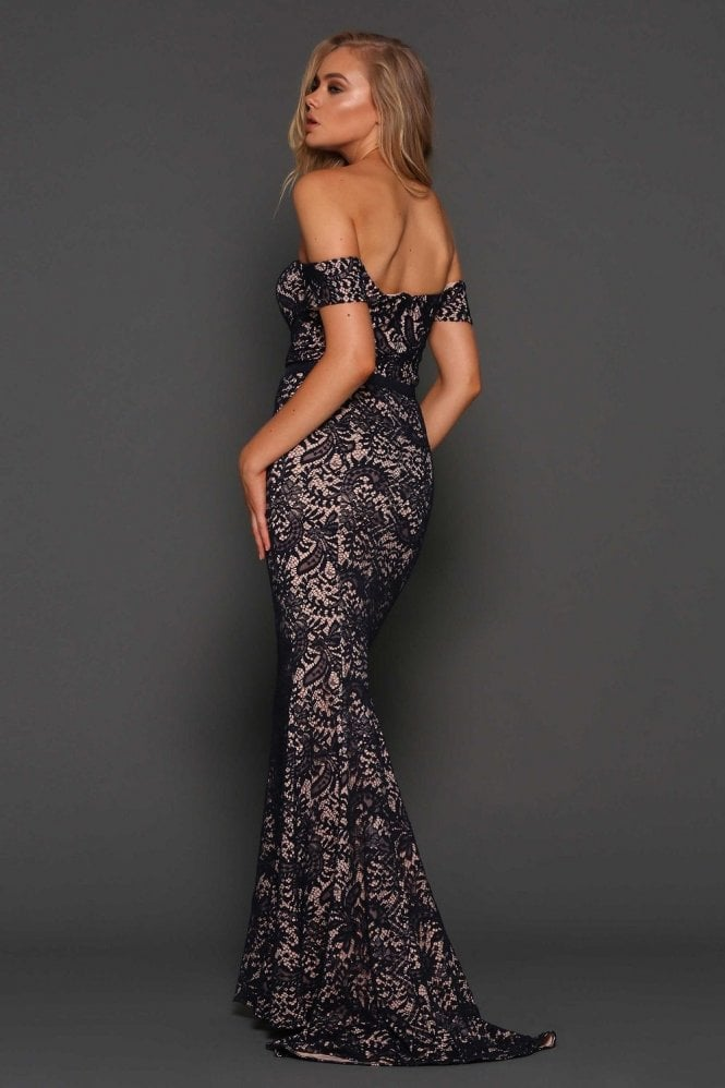Elle Zeitoune Navy Carina elegant lace off the shoulder gown