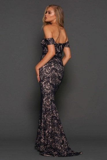 Navy Carina elegant lace off the shoulder gown