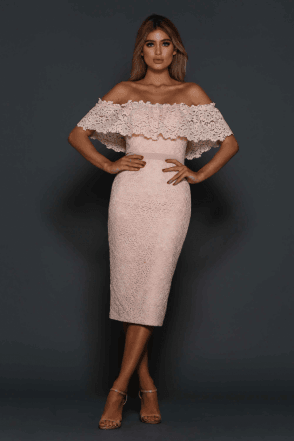 Peach Jorje off the shoulder scalloped lace dress