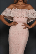 Elle Zeitoune Peach Jorje off the shoulder scalloped lace dress