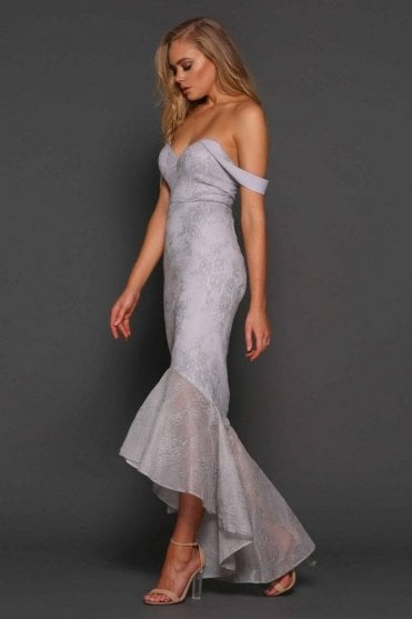 Powder blue Danita fishtail lace gown