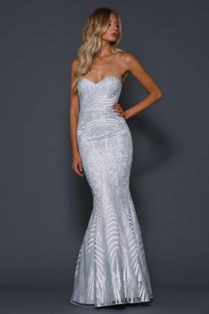 Priya Iced Silver Strapless Fishtail Dress