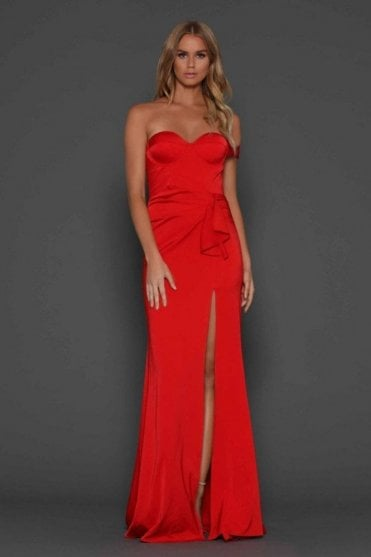 Red Maise satin fluid gown with thigh high split