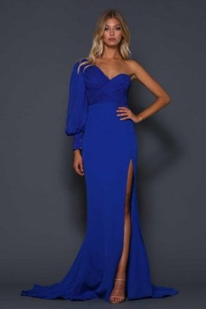 Royal Blue Charles High Split One Shoulder Gown