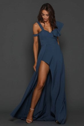 Slate Lisa one shoulder frill flowy dress