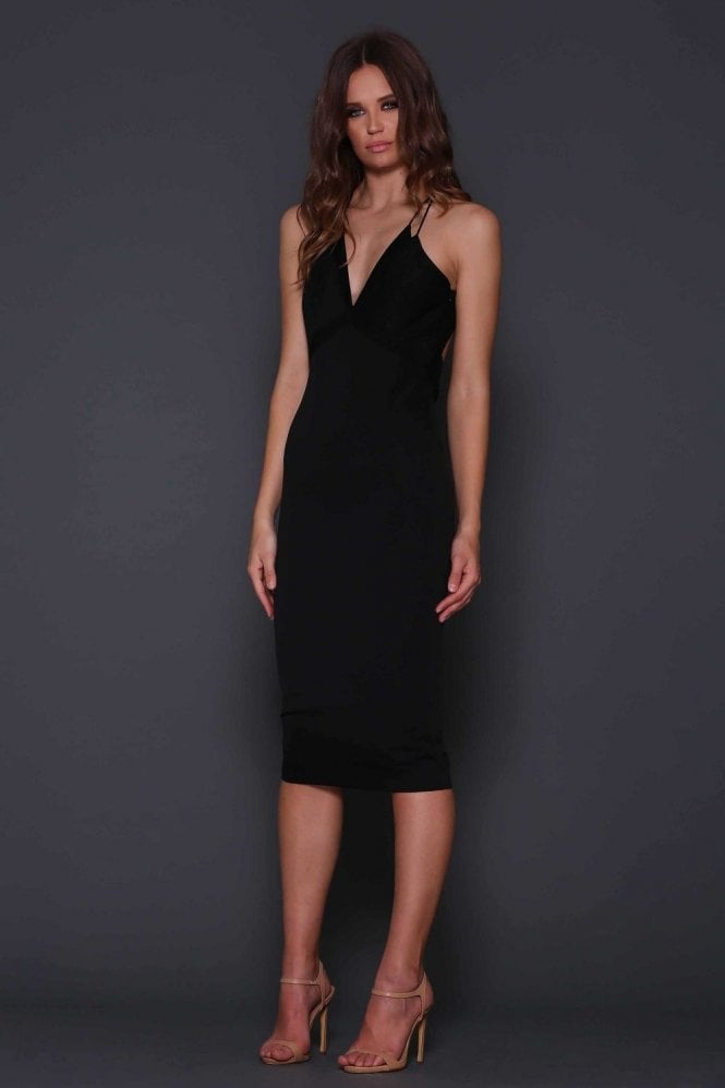 Elle Zeitoune Sonata Black Mesh Detail Low Back Cocktail Dress