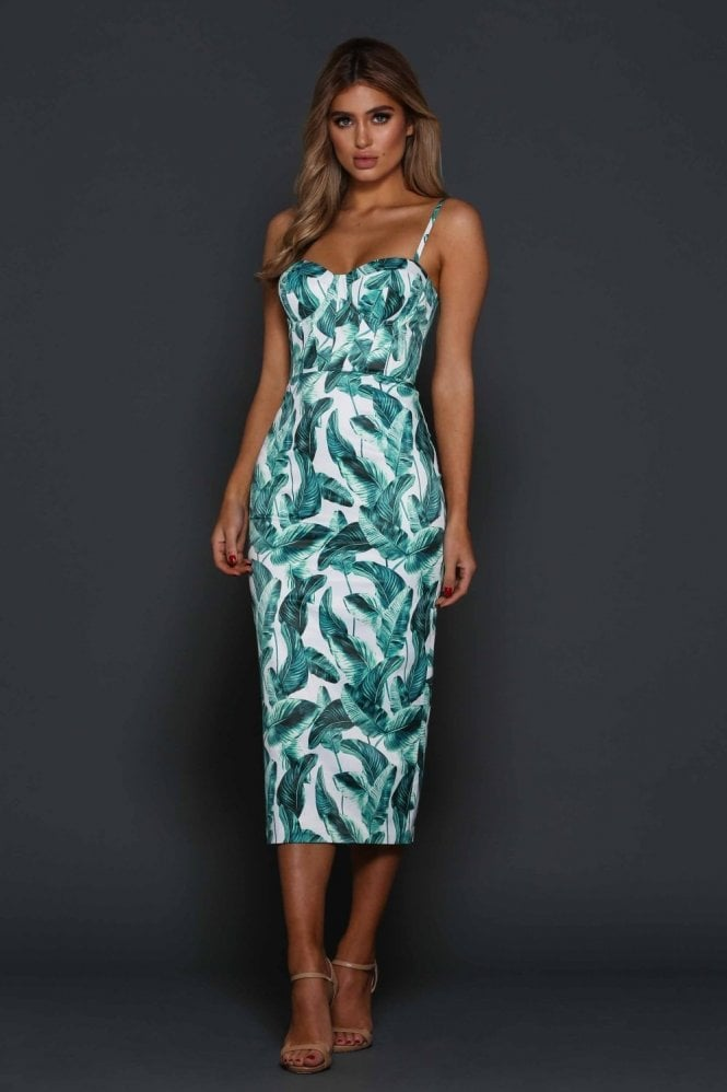 Elle Zeitoune Tropical palm print Alannah bustier style dress