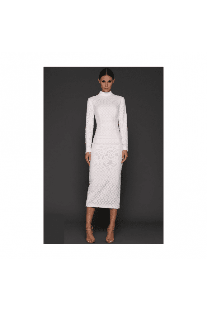 Elle Zeitoune White Bernice Long Sleeve High Neck 3/4 length Dress