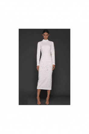 White Bernice Long Sleeve High Neck 3/4 length Dress