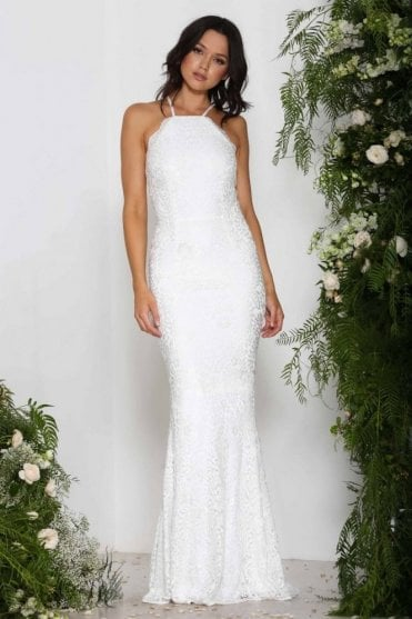 White Lori Lace Cross Over Back Long Gown