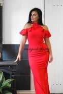 Ex-Chain Store Brands Ex-ASOS Cold shoulder frill top maxi dress in red