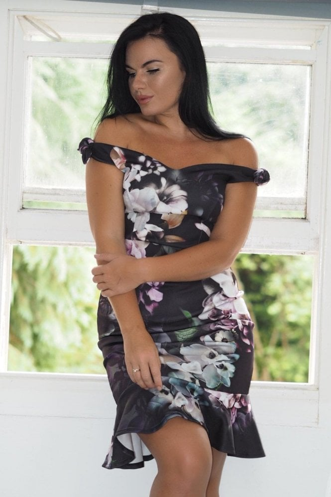 Ex-Chain Store Brands Ex-Jessica Wright floral bardot bow detail dress
