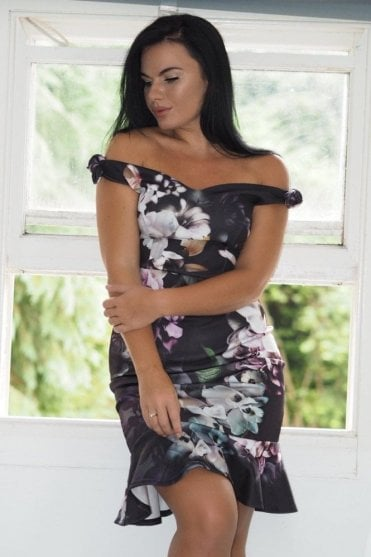 Ex-Jessica Wright floral bardot bow detail dress