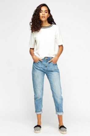 Ex-Mango Blue Denim Boyfriend 3/4 Long Pocket Capri Jeans