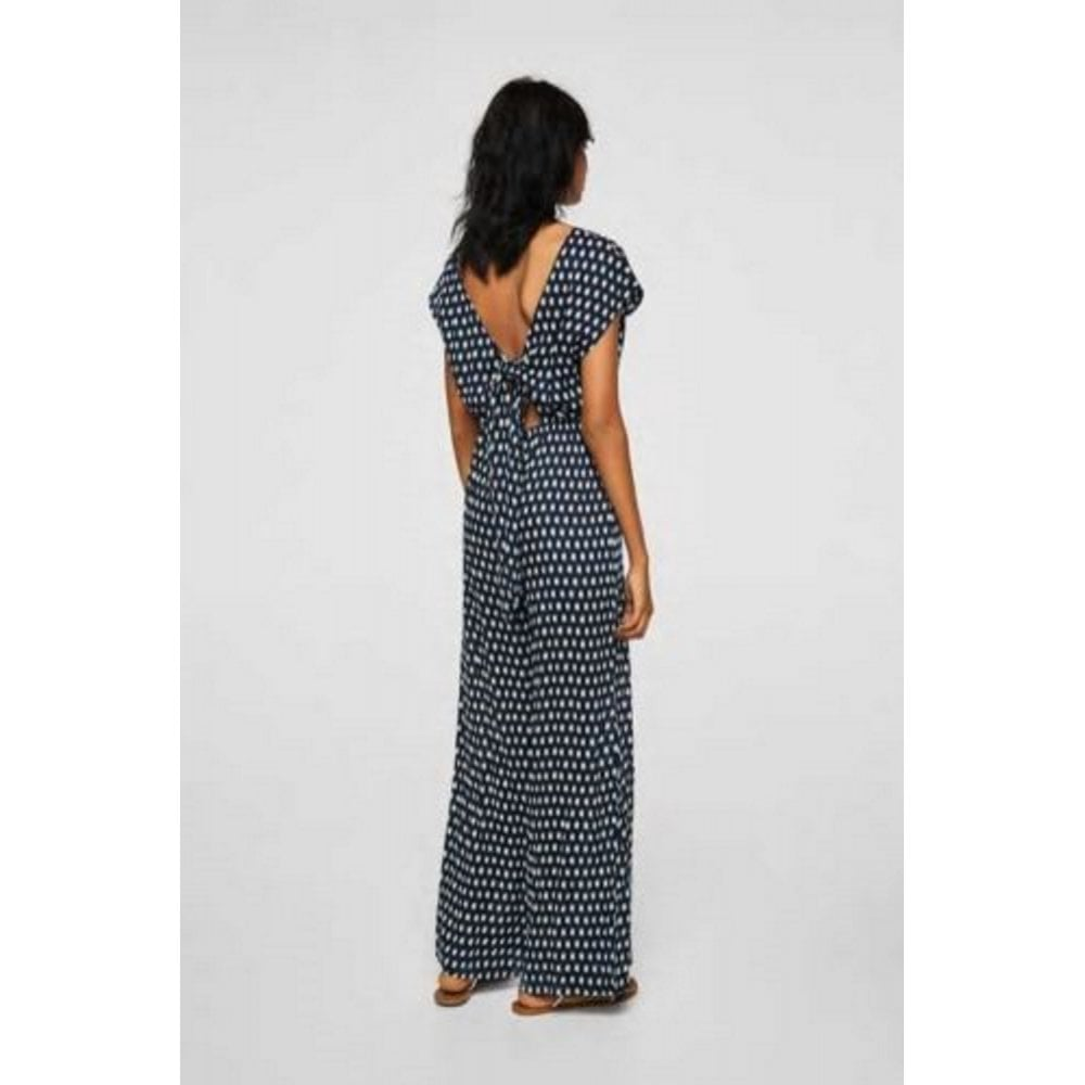 3334e1bdb6 Ex-Mango printed flowing jumpsuit with tie back in Navy   White