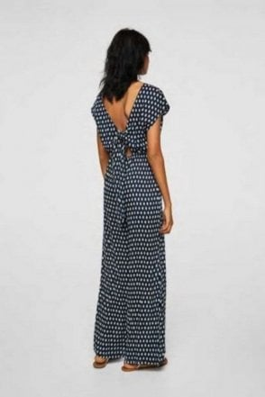 Ex-Mango Long printed tie back jumpsuit, Navy & White