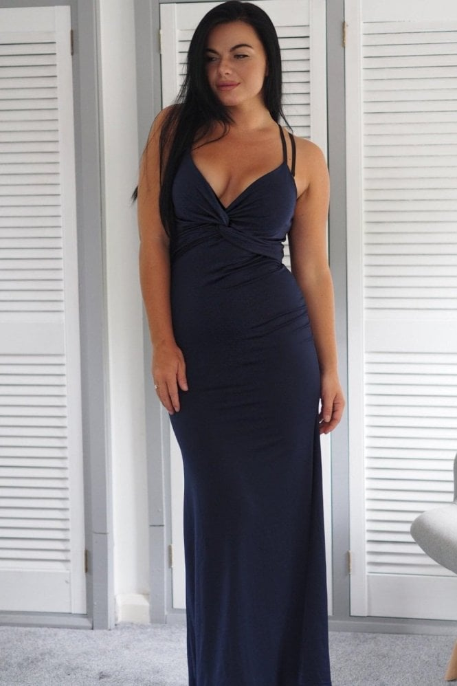 Ex-Chain Store Brands Ex-Quizz knot bust maxi dress in navy