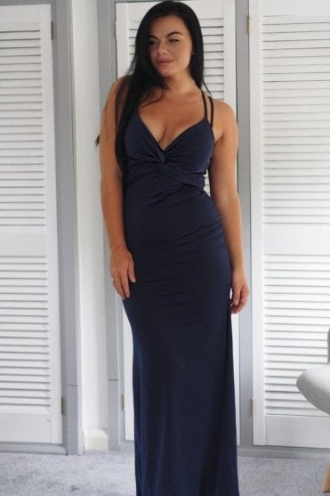 Ex-Quizz knot bust maxi dress in navy