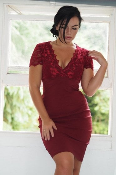 Ex-Scarlett B Wine Lace Bodycon Dress