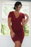 Ex-Chain Store Brands Ex-Scarlett B Wine Lace Bodycon Dress