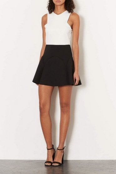 Ex-Topshop Black & White Scuba Skater Party Mini Dress