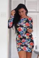 Ex-Chain Store Brands Long Sleeve Floral Bodycon Dress