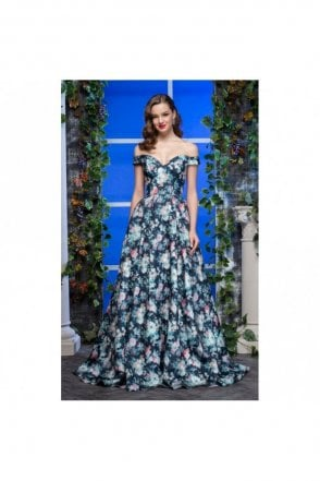 Blue floral print off shoulder ballgown 1097Z