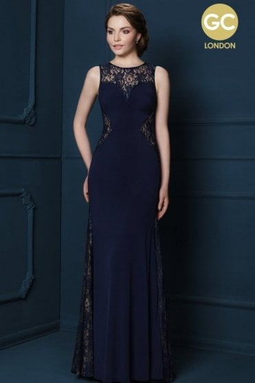 Champagne 2028Y long lace detailed illusion neckline dress