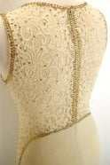Gino Cerruti Champagne 2028Y long lace detailed illusion neckline dress