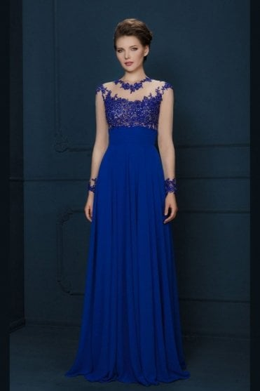 Navy blue 1680G lace applique chiffon skirt dress