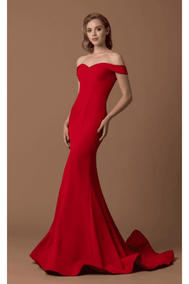Red Crepe Fishtail Gown 1539G