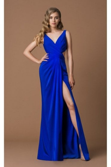 Royal Blue 4017D Ruched Cross Over Gown with Cut Out Side and Back.