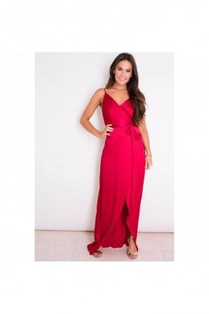 Red Lucy wrap round dress SI4263