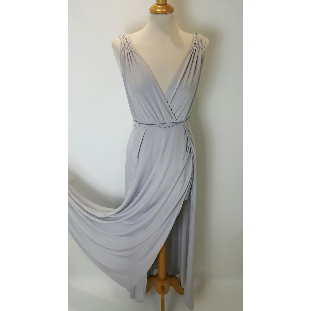 Girl In Mind SI2063 Grecian Style Jersey Long Dress in Silver Grey