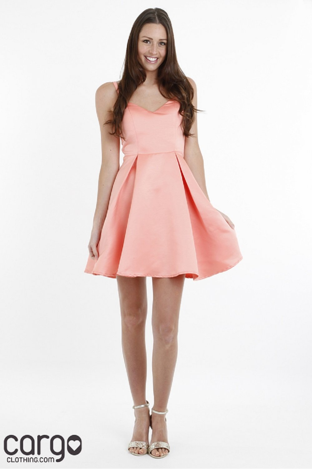 Girls On Film Structured Bow Back Prom Dress in Coral A30009