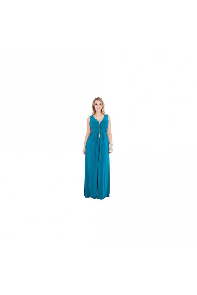 Goddiva Plus Cross over Front Teal Plus Size Maxi Dress D1791BS
