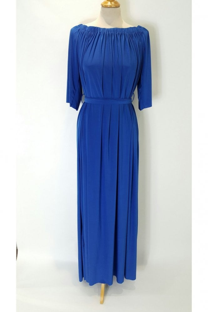 Goddiva Plus Royal Blue Boat Neck off the shoulder Evening Dress DR428PS