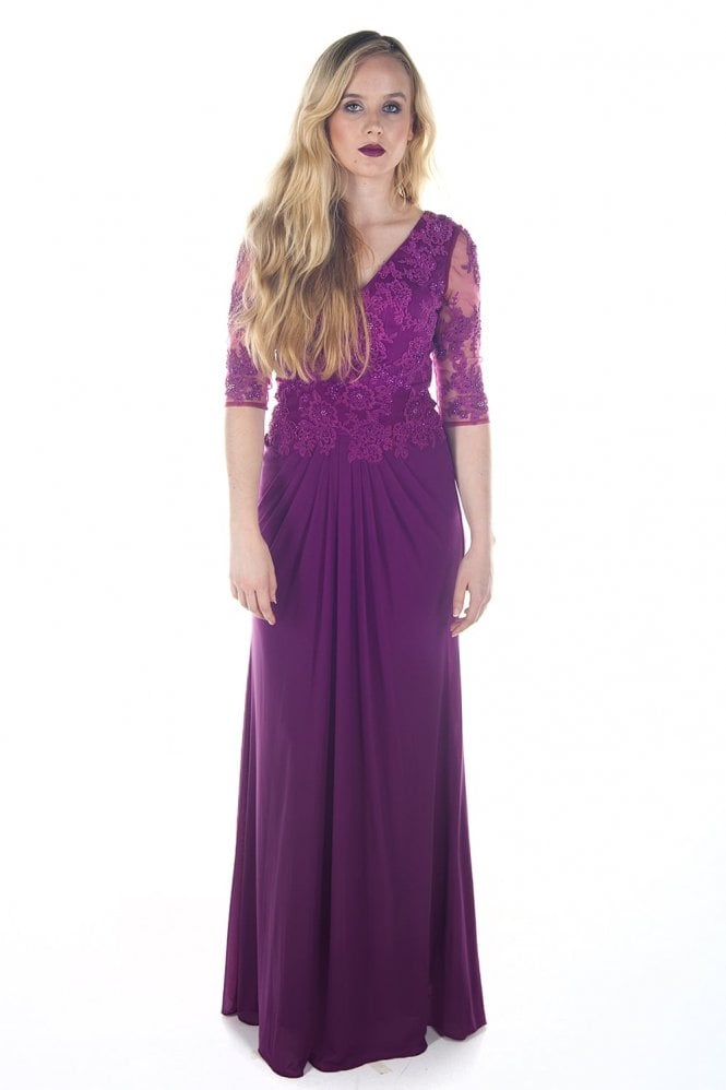 Jadore Berry J7073 V Neck 3/4 Sleeve Chiffon Gown