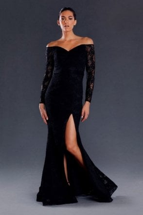 Black JX063 lace sleeve off the shoulder dress