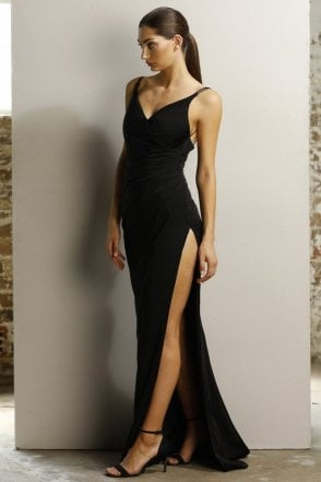 Black JX1027 V neck crossover bust high split dress