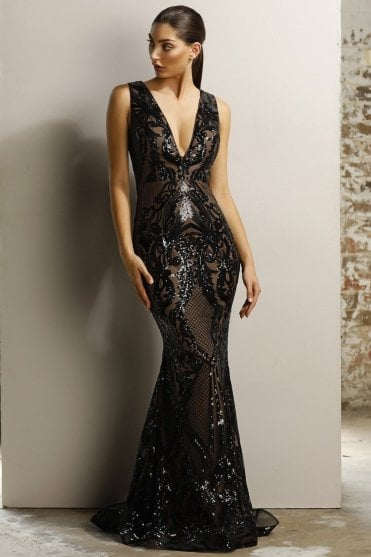Black/Nude JX1091 deep V neck contrast gown