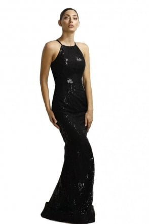 Black Sequinned High Neck Gown JX1015
