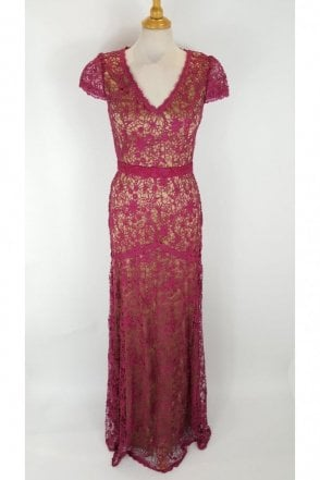 Cherry Red J7059 Lace Overlay Cap Sleeve Dress