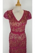Jadore Cherry Red J7059 Lace Overlay Cap Sleeve Dress