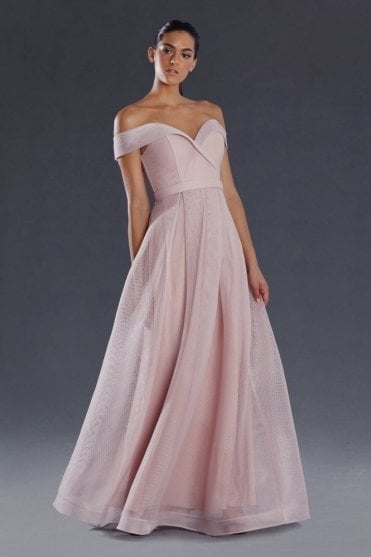 Dusty Pink JX004 full length off the shoulder gown