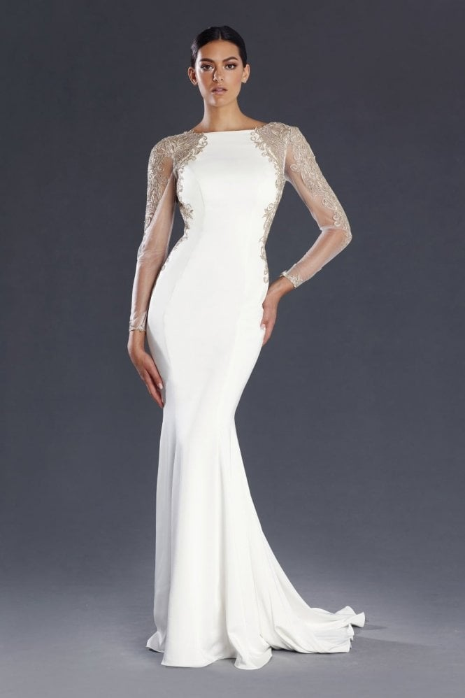 Jadore Ivory & Gold JX058 Fitted Gown with Sheer Sleeves