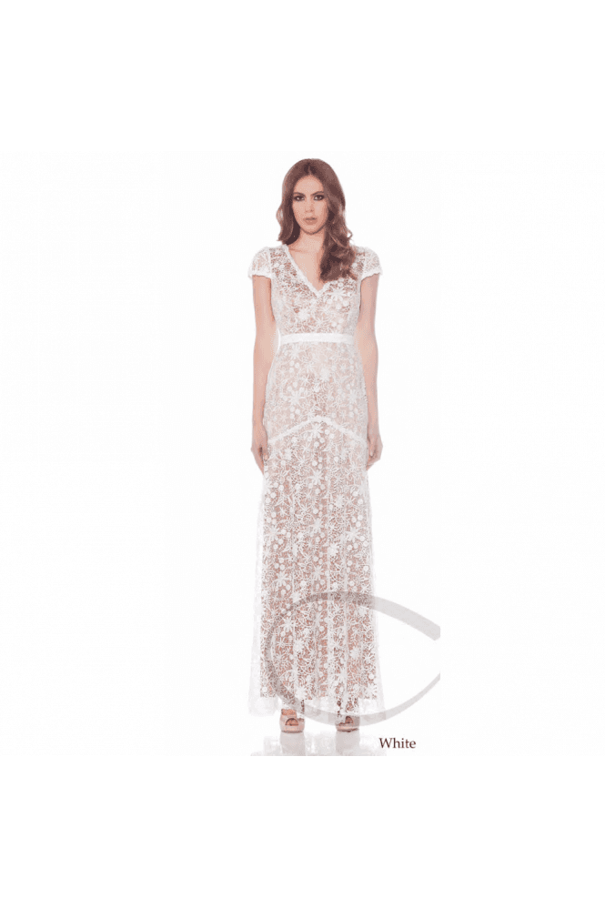 Jadore Ivory J7059 Lace Overlay Cap Sleeve Dress