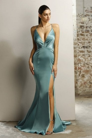 Jade JX1101 plunging V criss cross back dress