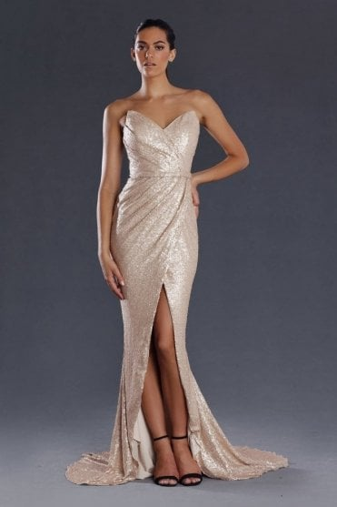 Light gold strapless heart JX093 sequinned long dress