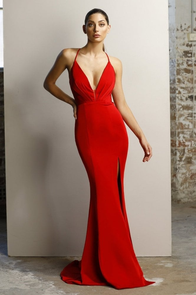 Jadore Lipstick JX1101 plunging V criss cross back dress